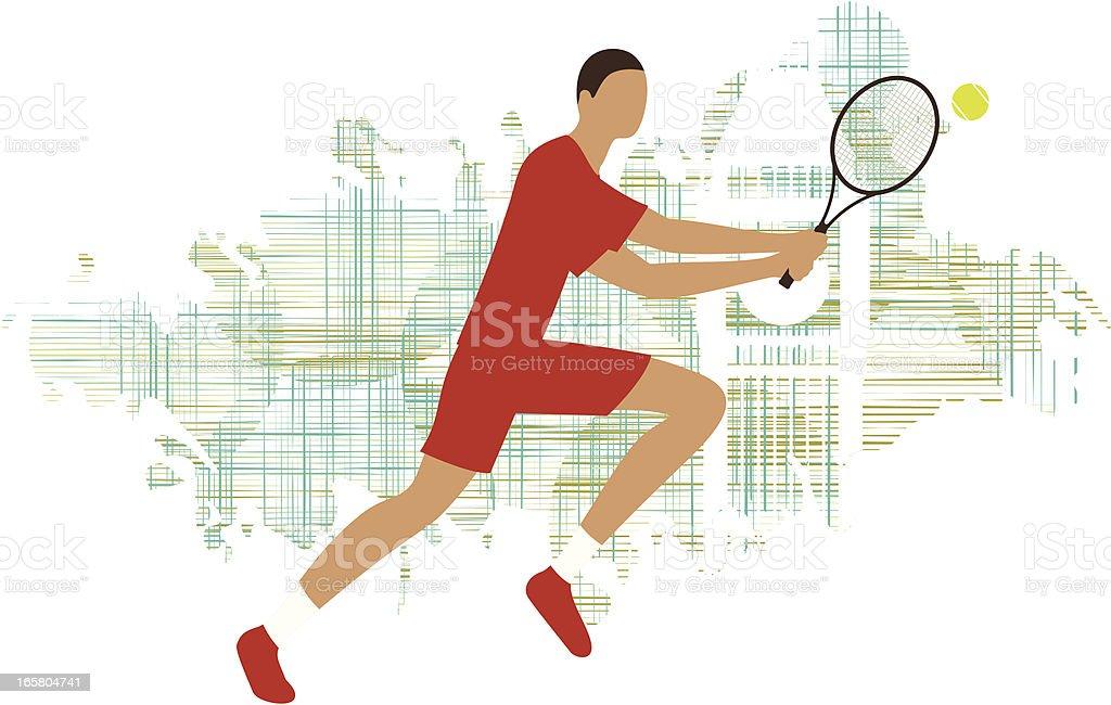 two-handed backhand tennis player vector art illustration