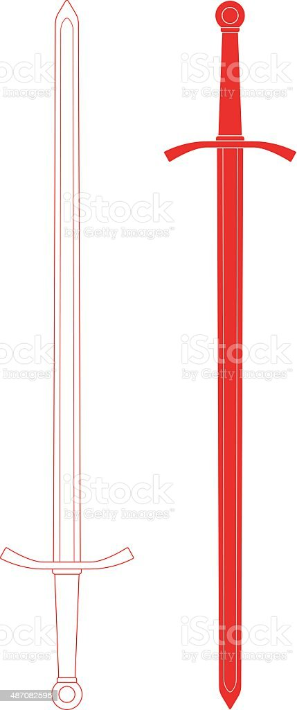 Two-handed  sword. Contour lines and silhouette vector art illustration