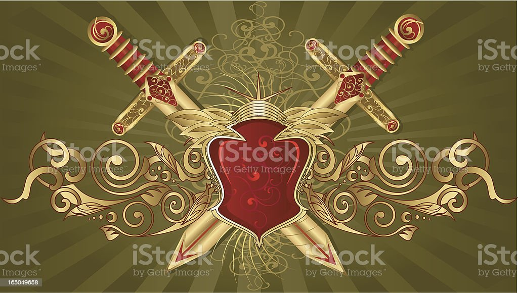 Two-swords & Shield crest royalty-free stock vector art