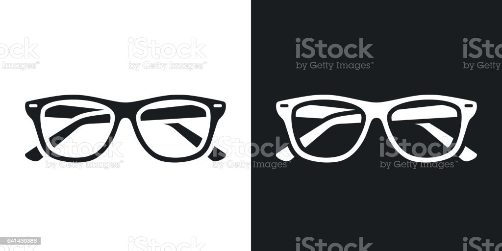 Two-tone version of Glasses simple icon. vector art illustration