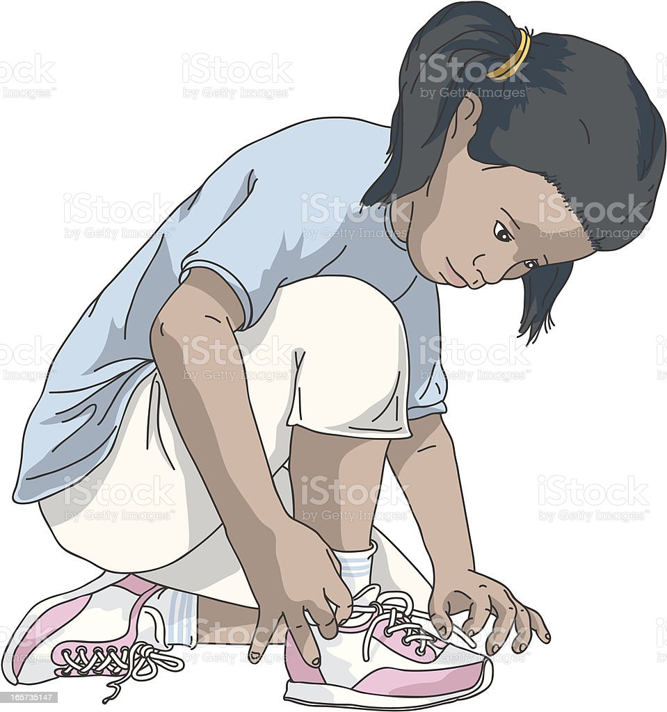 Tying shoes vector art illustration