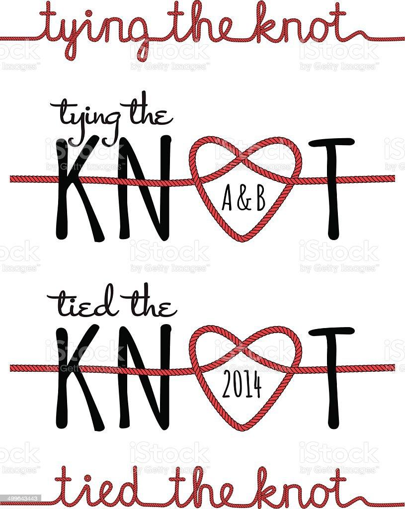 tying the knot, vector set vector art illustration