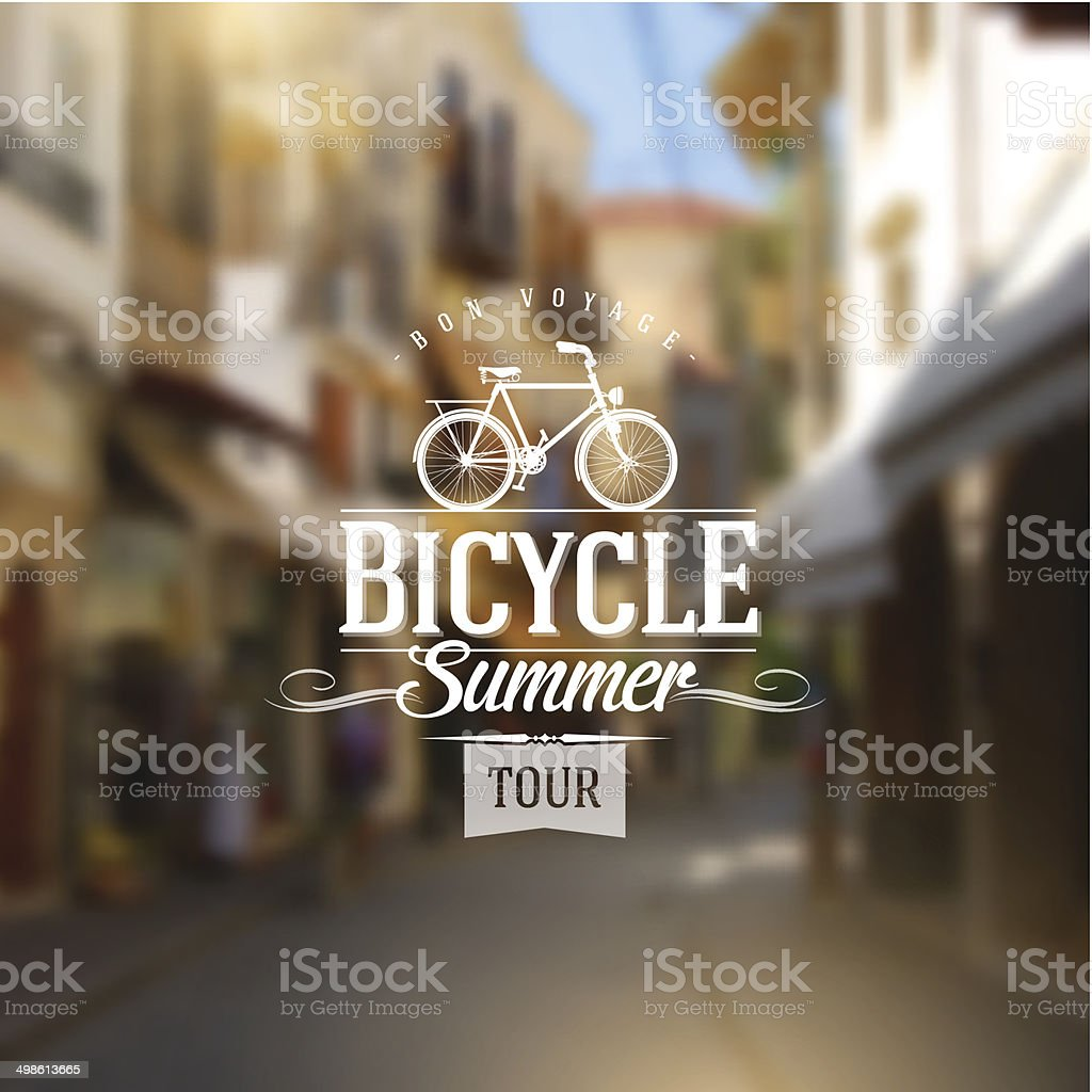 Type design with bicycle silhouette against a street defocused background vector art illustration