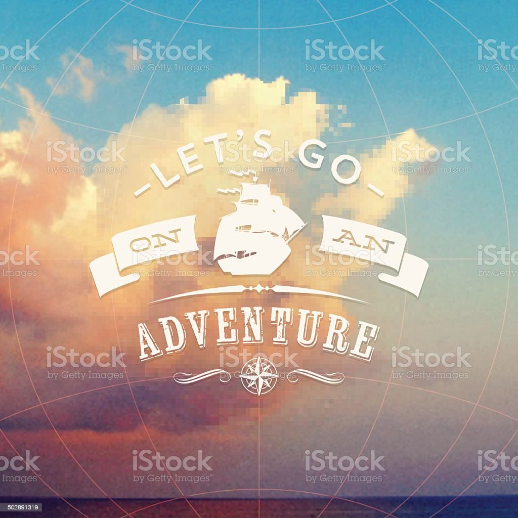 Type design with sailing vessel against a seascape with clouds vector art illustration