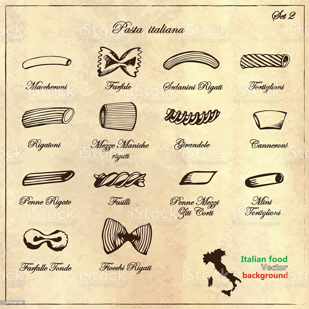 Types  Italian pasta in retro style vector art illustration