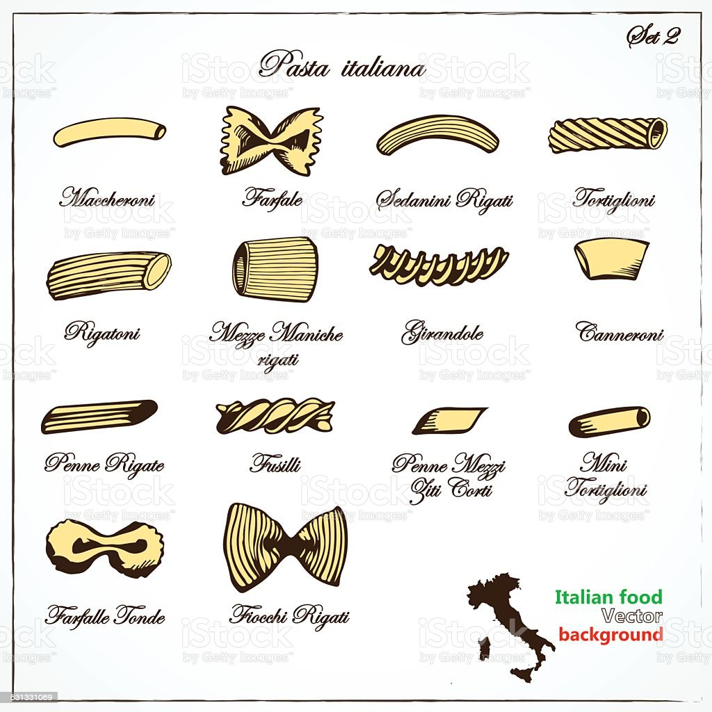 Types Italian pasta vector art illustration
