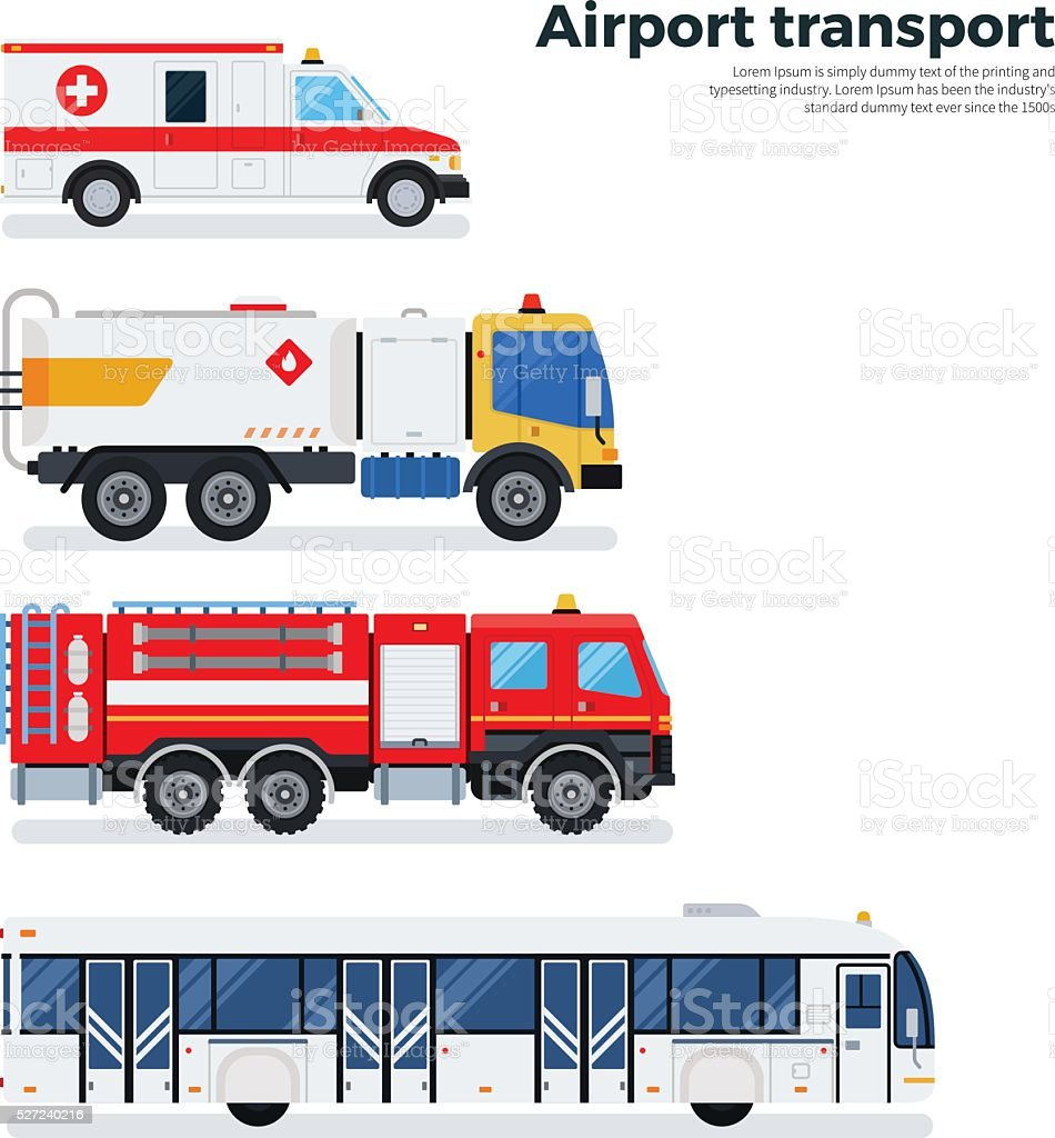 Types of airport transport isolated on white vector art illustration