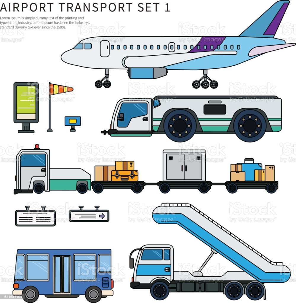Types of airport working transport isolated on white vector art illustration