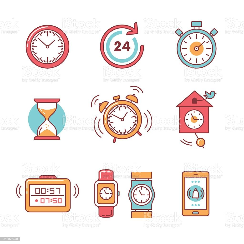 Types of alarms clocks, timers and watches set vector art illustration