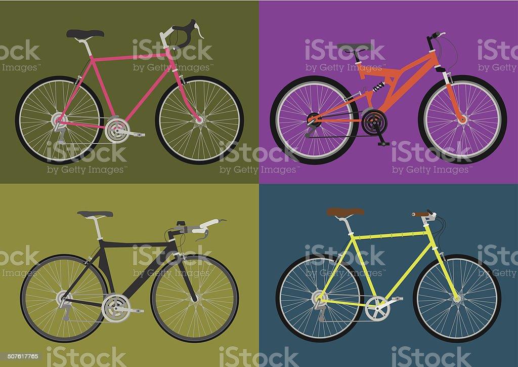 Types of Bikes vector art illustration