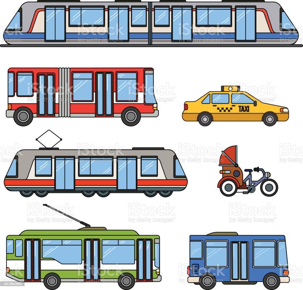 Types of city transport vector art illustration