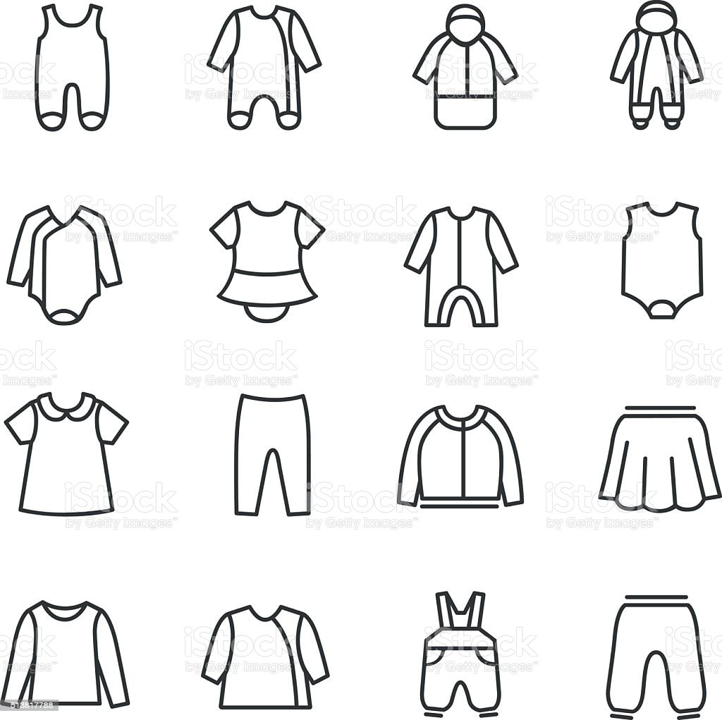 Types of clothes for babies as line icons vector art illustration