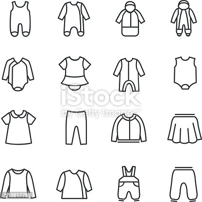 Types Clothes For Babies As Line Icons stock vector art