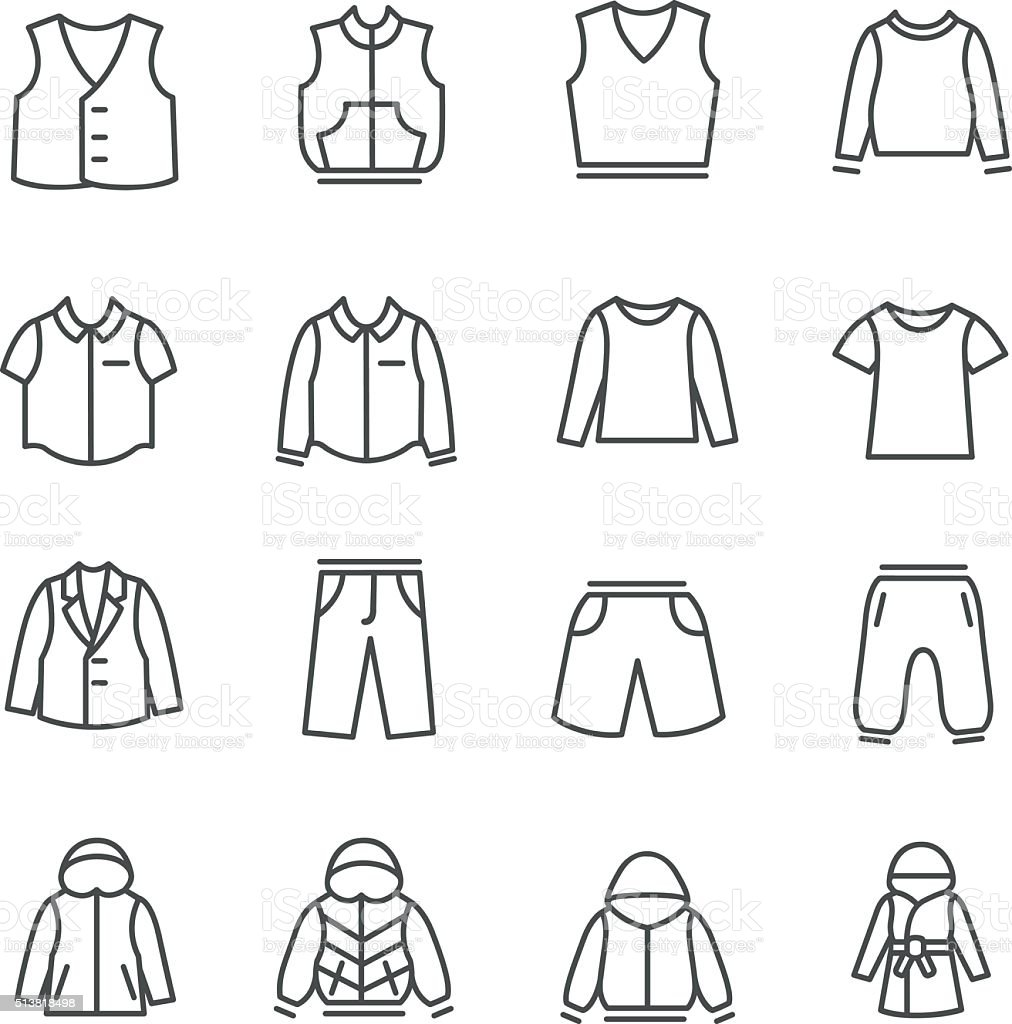 Types of clothes for boys and teenagers as line icons vector art illustration