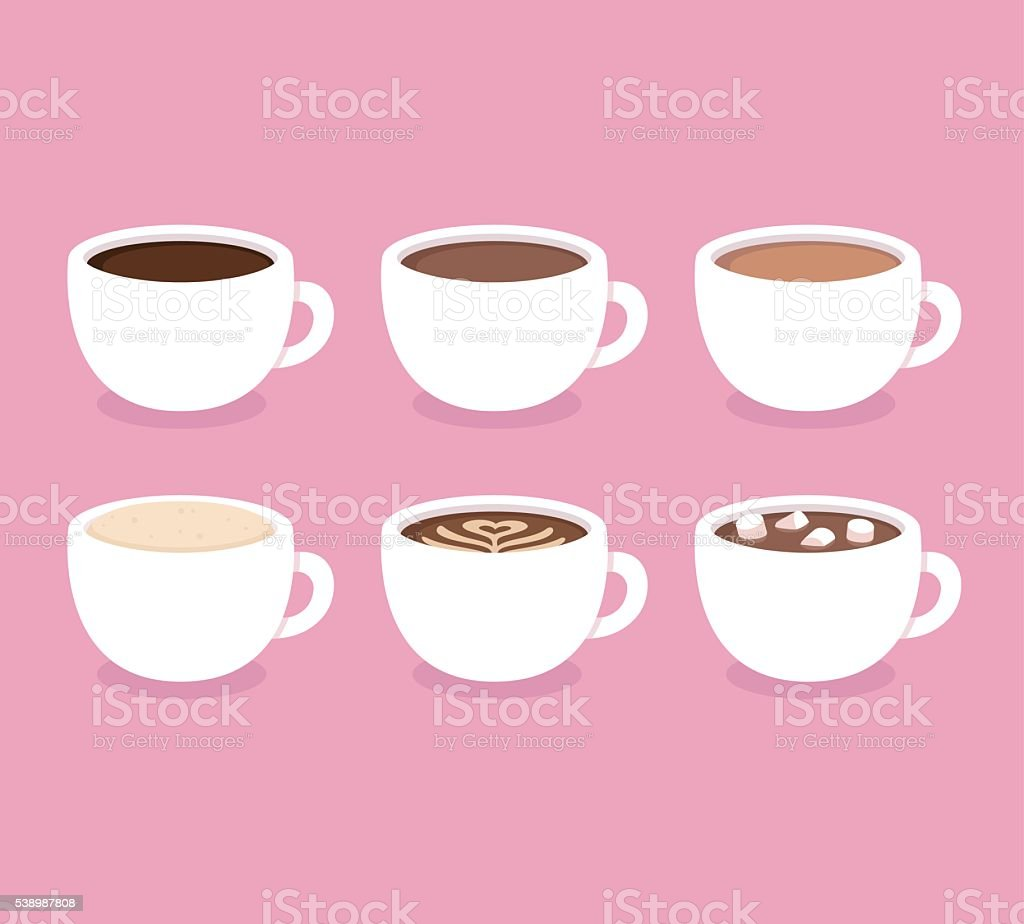 Types of coffee cups set vector art illustration