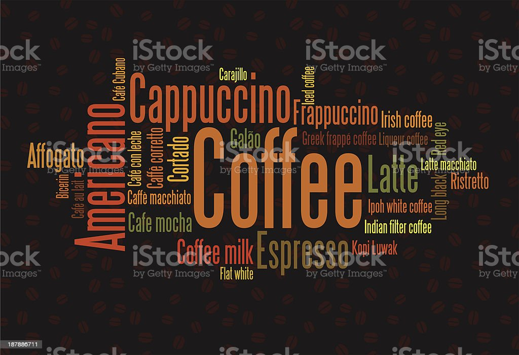 Types of coffee royalty-free stock vector art