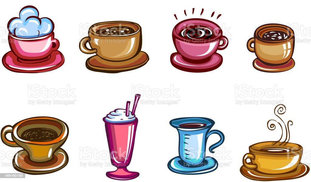 Types of coffee vector art illustration