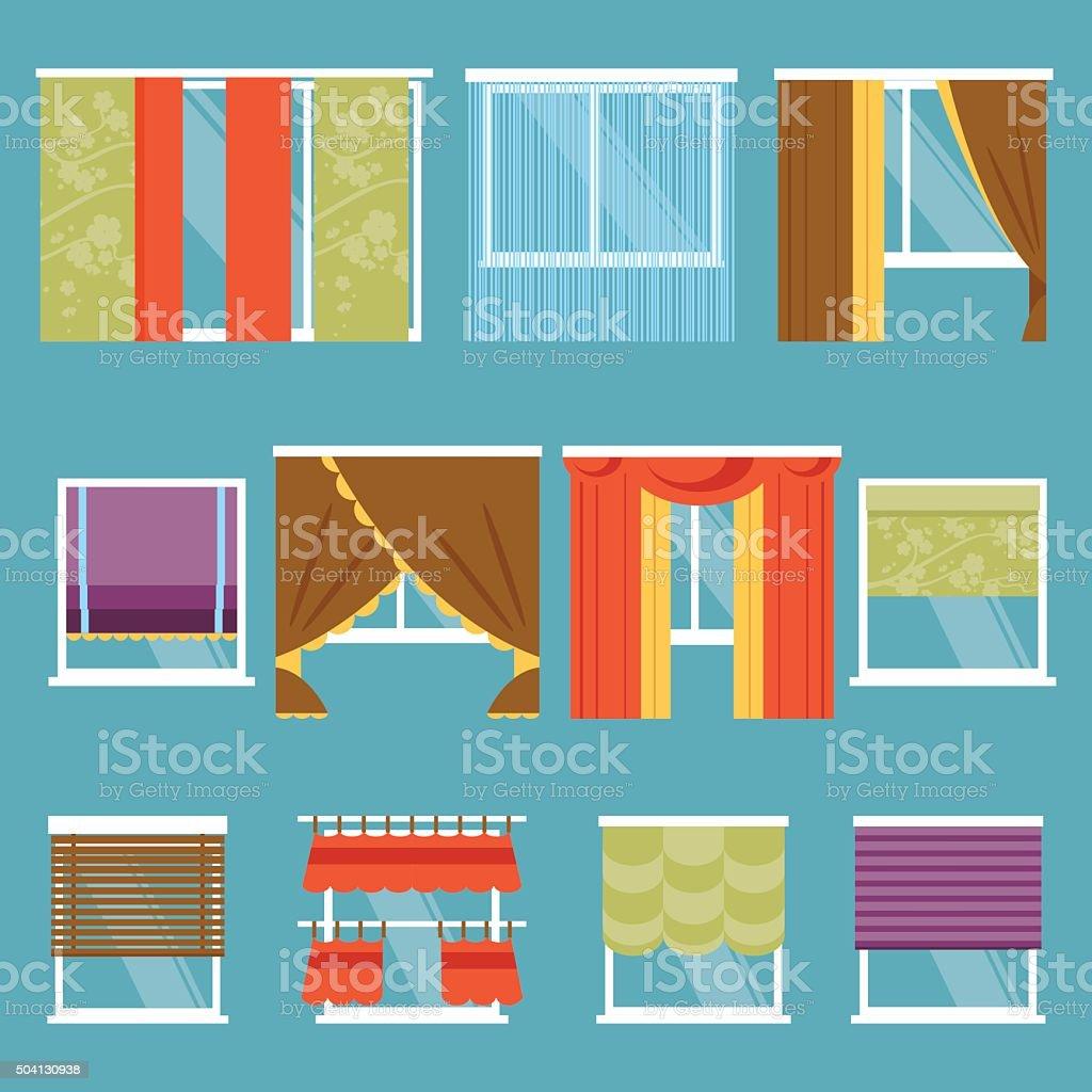 Types of curtains. Vector Illustration vector art illustration