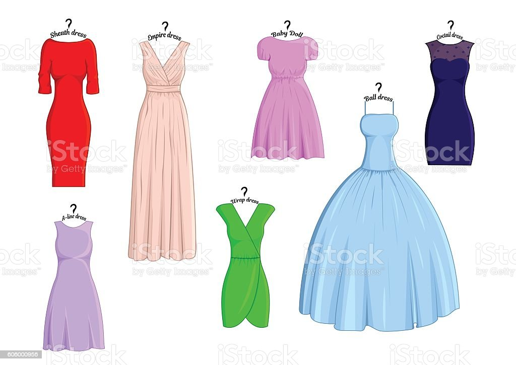 Types of dresses vector art illustration