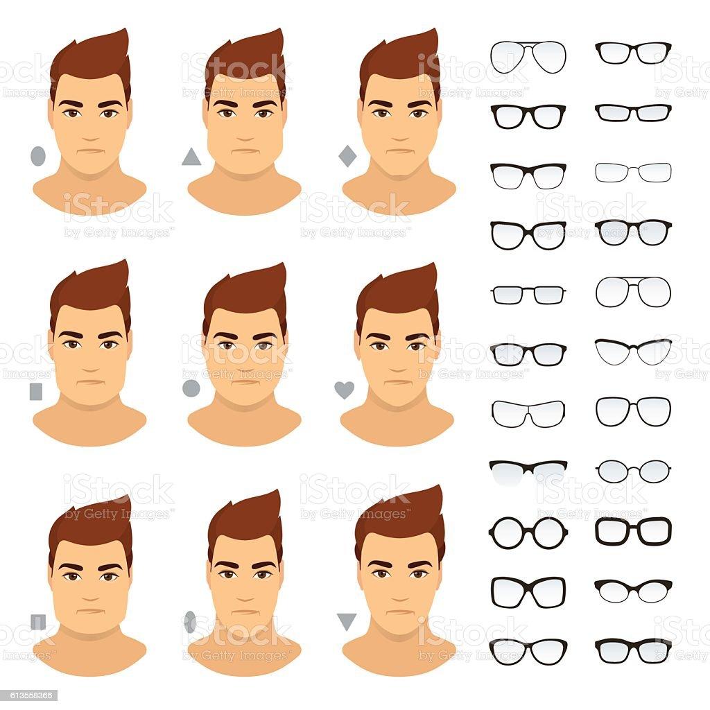 Types of eyeglasses for different men face. Vector icon set. vector art illustration