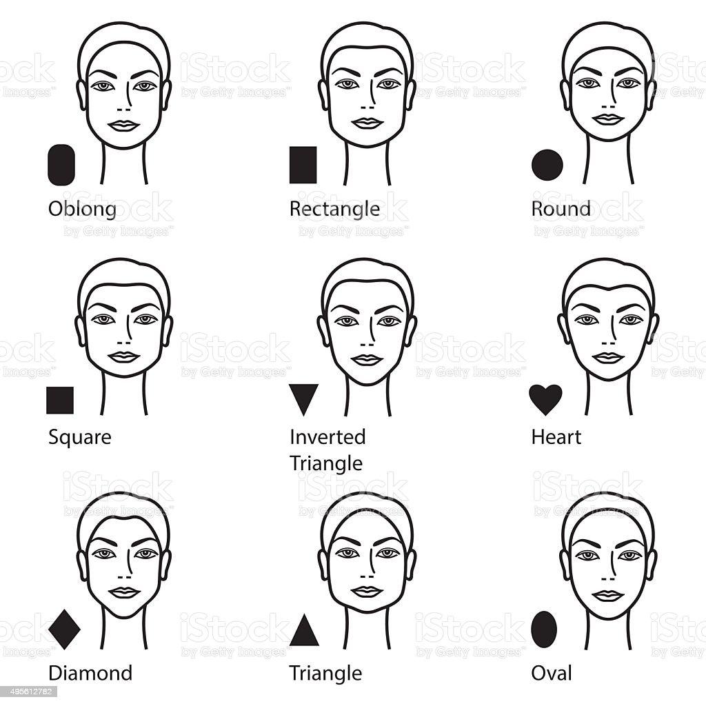 types of face vector art illustration