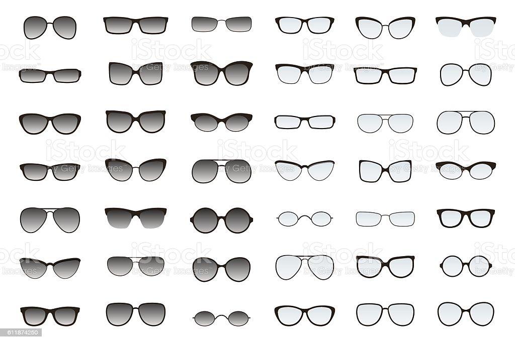 Types of glasses and sunglasses. Big flat vector set. vector art illustration