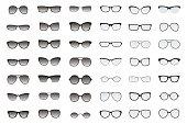 Types of glasses and sunglasses. Big flat vector set.