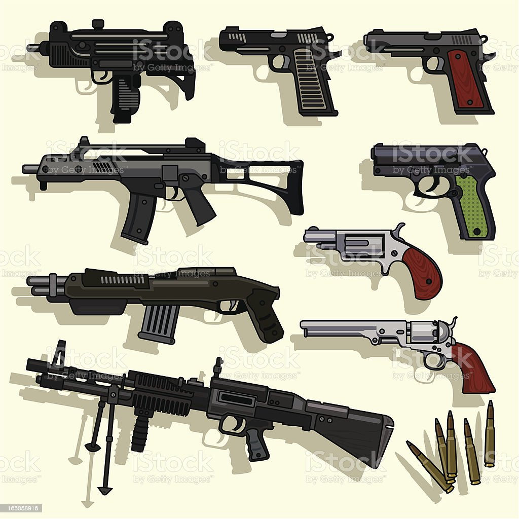 Types of Guns Collection Vector royalty-free stock vector art