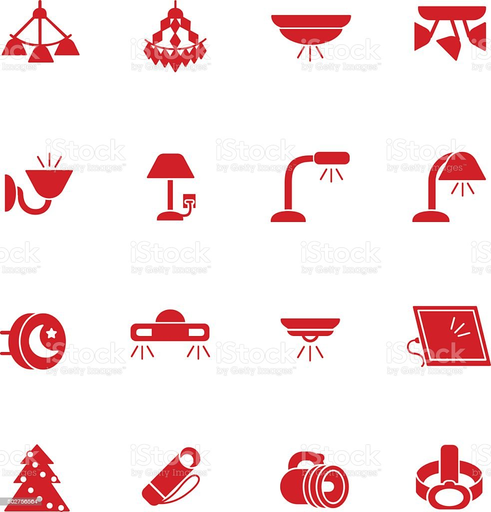Types of lighting for indoor use as glyph icons vector art illustration
