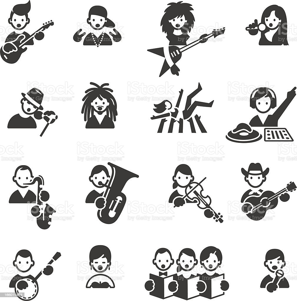Types of Music icons royalty-free stock vector art