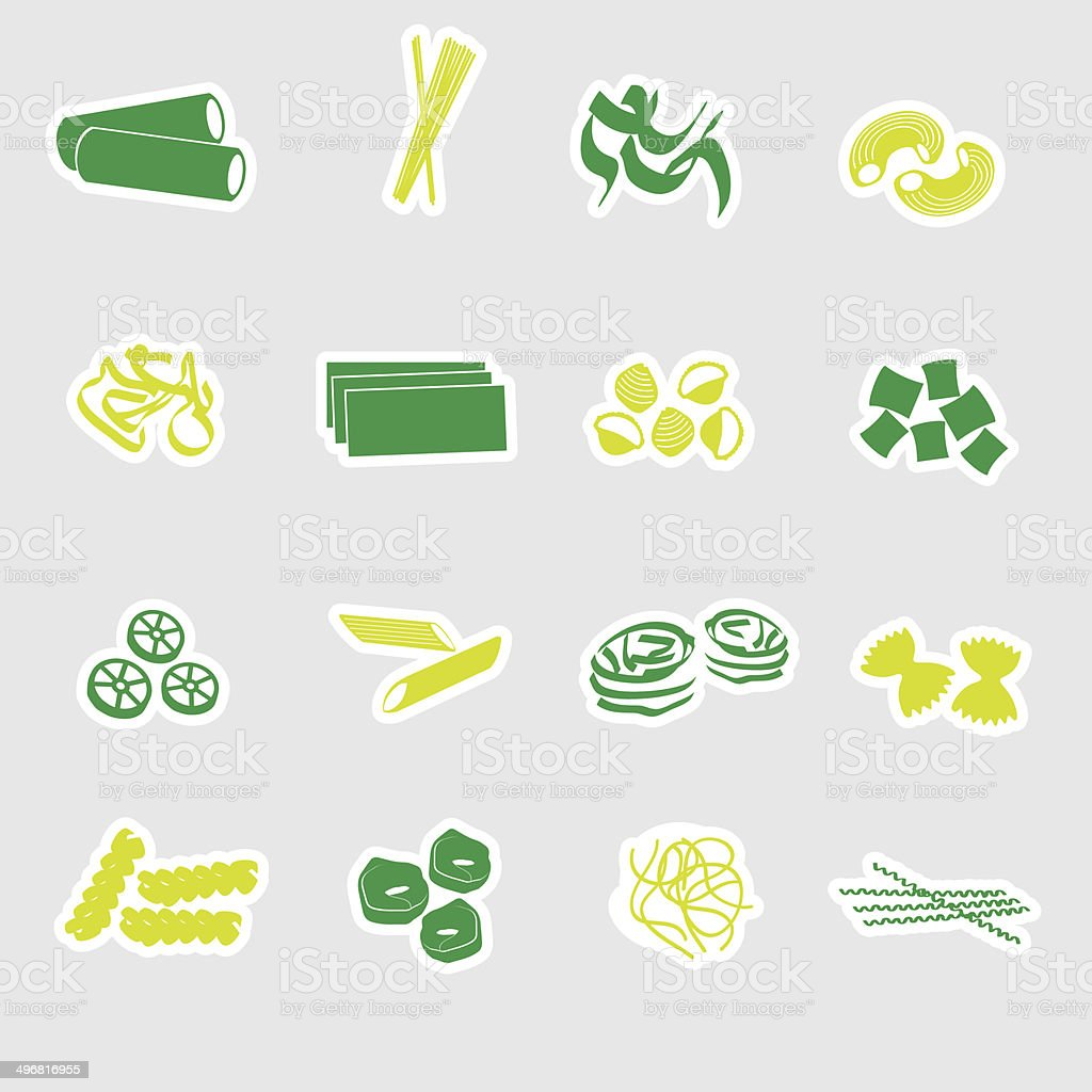 types of pasta food stickers eps10 royalty-free stock vector art