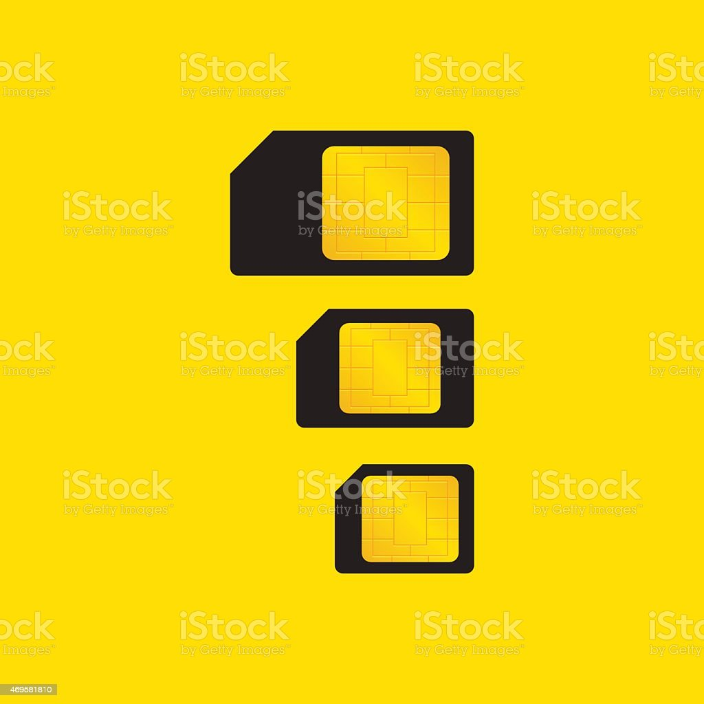 types of SIM cards vector art illustration