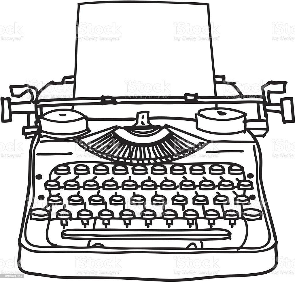 Typewriter Line Drawing vector art illustration
