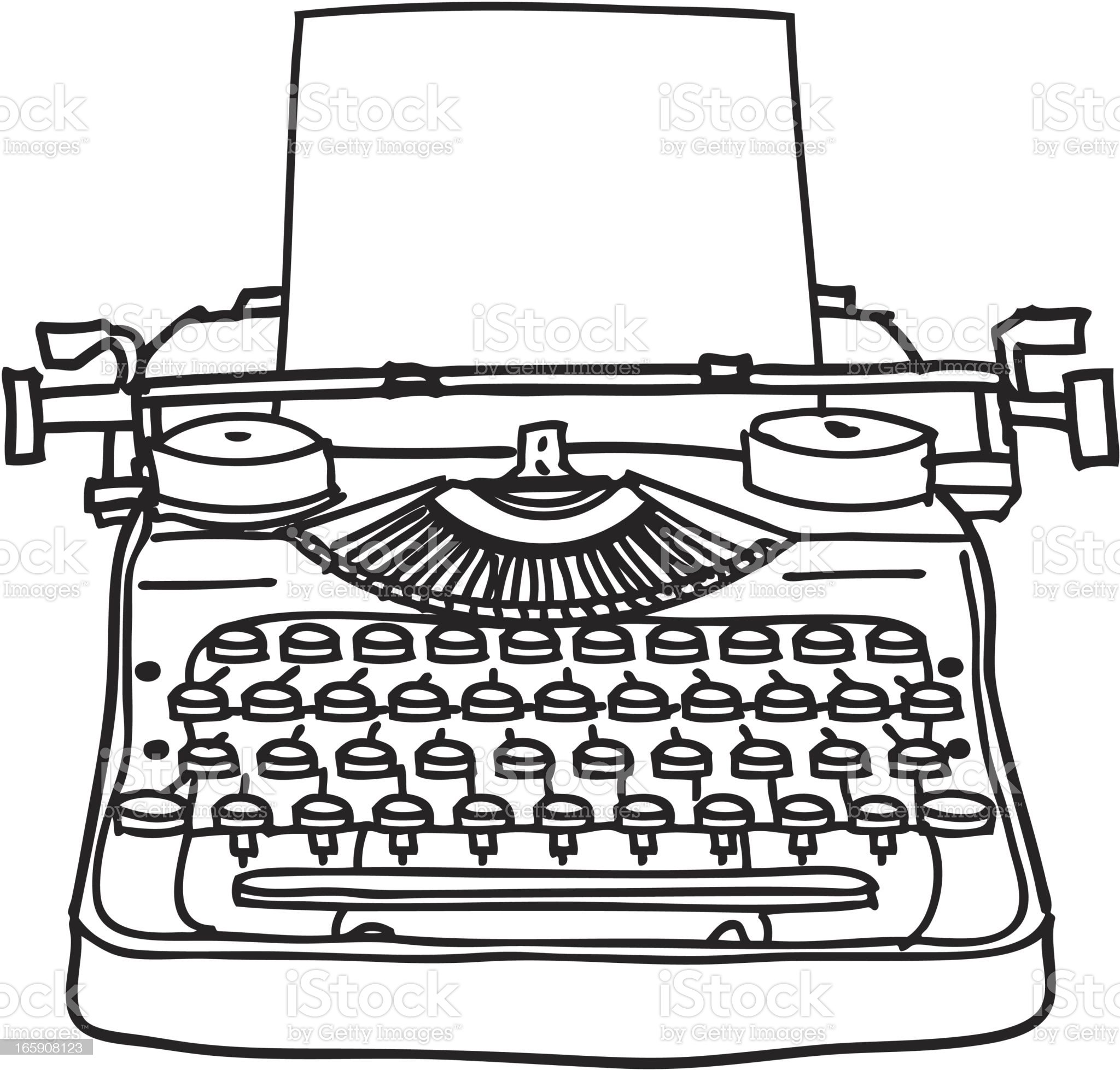 Typewriter Line Drawing royalty-free stock vector art