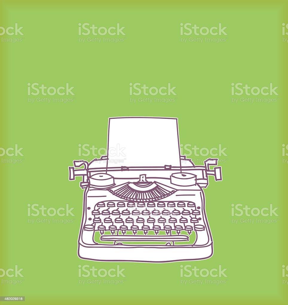 Typewriter on Green vector art illustration