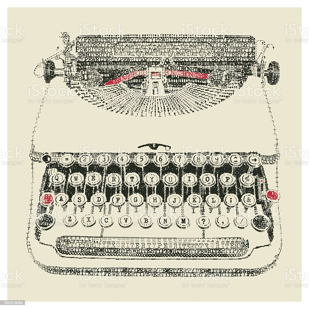 Typewriter typed vector art illustration