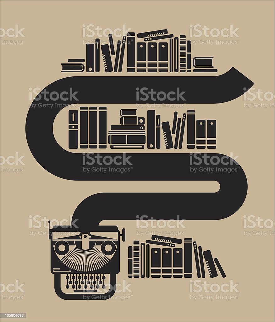 Typewriter with books vector art illustration