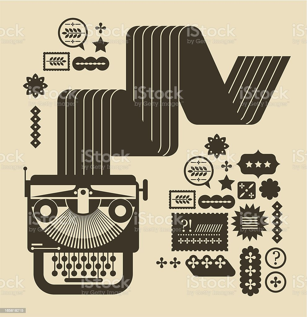 Typewriter with paper vector art illustration