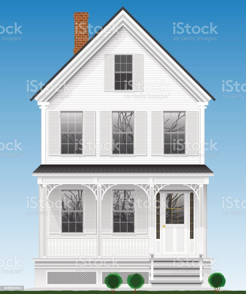 A typical and classic American house made of wood painted with white paint. Two floors, basement and attic. vector art illustration