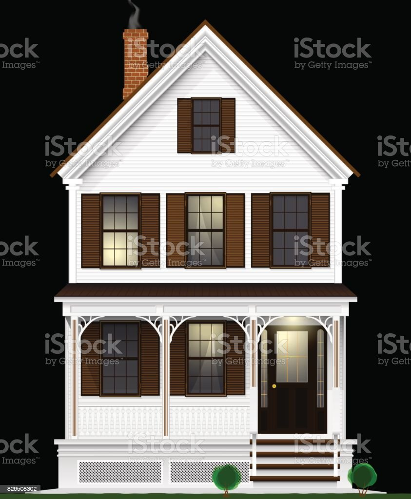 A typical and classic American house made of wood painted with white paint. Two floors, basement and attic. Night view. vector art illustration