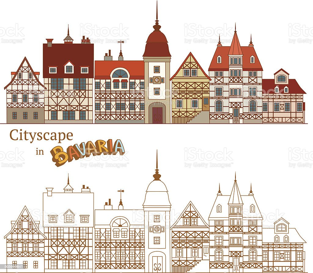 Typical Bavarian Architecture vector art illustration