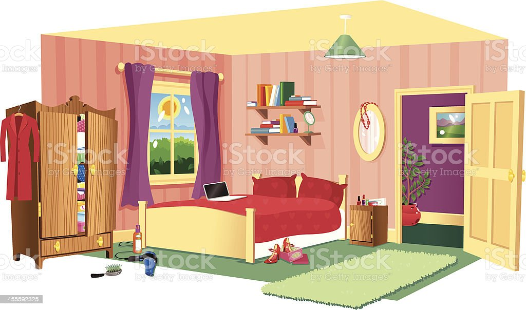 Typical bedroom scene vector art illustration