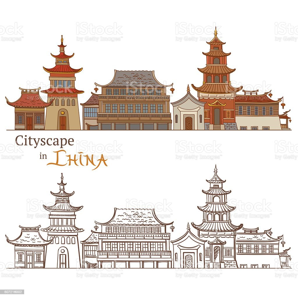 Typical Chinese Architecture vector art illustration