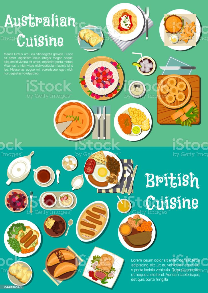 Typical dishes of british and australian cuisine vector art illustration