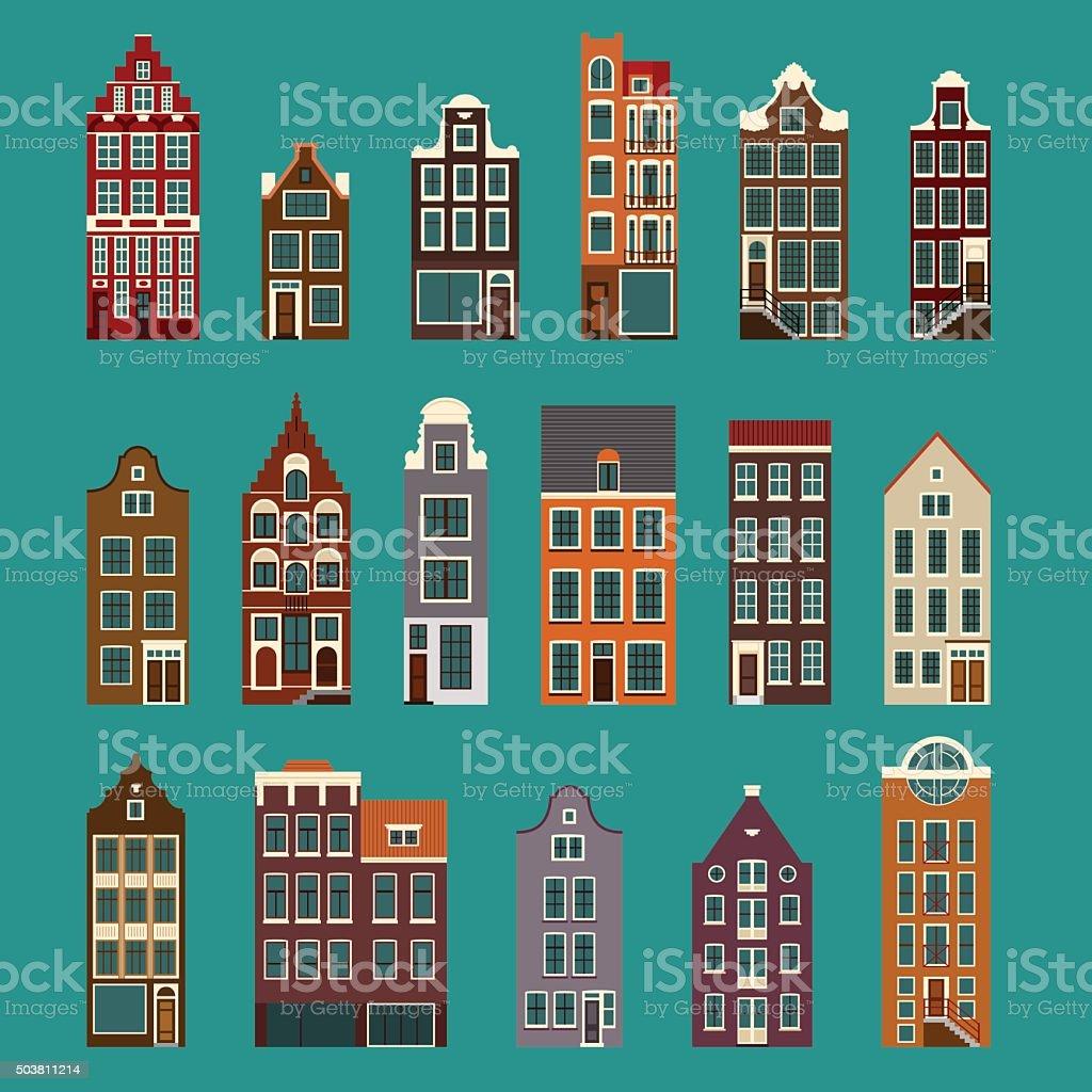 Typical European Houses vector art illustration