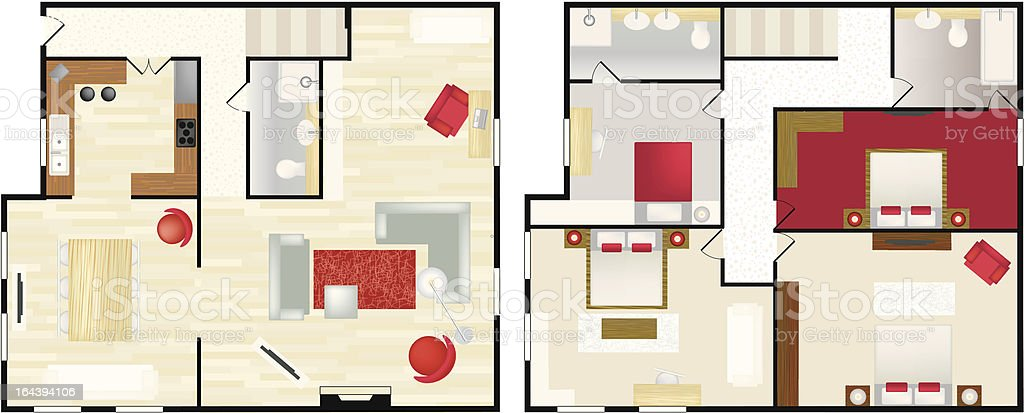 typical floorplan of a house vector art illustration