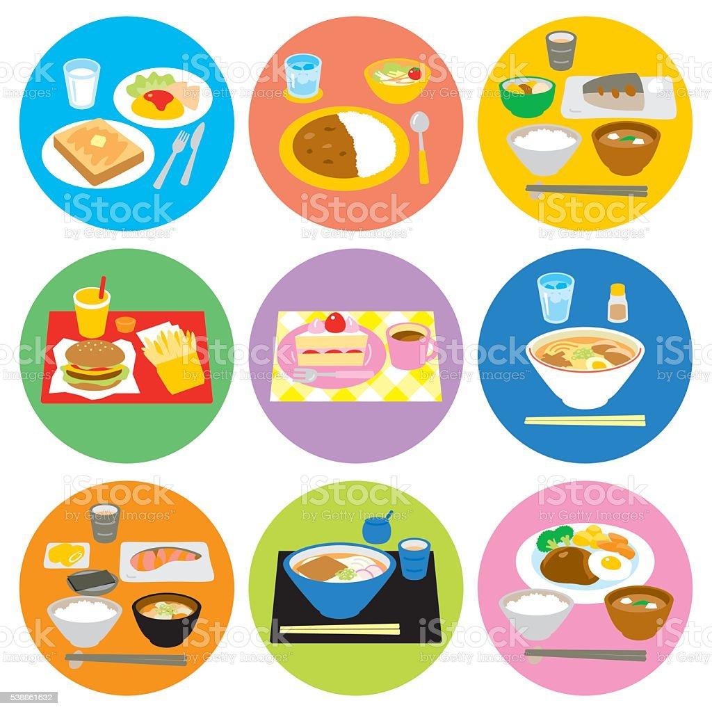 Typical meals in Japan vector art illustration