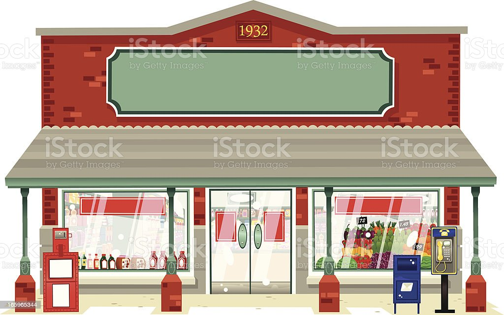 Typical small local supermarket vector art illustration