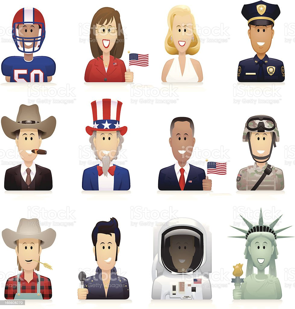 Typically American People vector art illustration