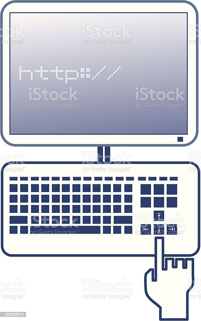 Typing on Computer vector art illustration